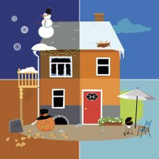 Four seasons of a family house, EPS 8 vector illustration, no transparencies